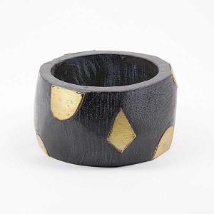 Bracelet en bois noir doré
